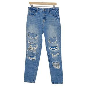 Cello Distressed Ripped High Rise Tapered Mom Jean